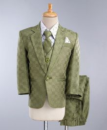 Jeet Ethnics Printed Full Sleeves 4 Piece Party Suit With Tie - Green