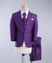 Jeet Ethnics Printed Full Sleeves 4 Piece Party Suit With Tie - Purple