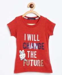Ziama Short Sleeves Quote Printed Top - Red