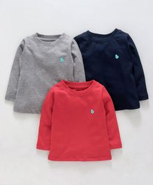 Babyhug Full Sleeves Tees Pack of 3 - Grey Navy Blue Red