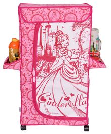 Disney Cinderella Almirah With 3 Shelves - Pink