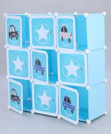 9 Compartments Storage Unit Toy Print - Blue White