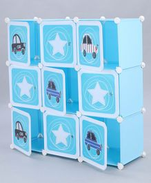 9 Compartments Storage Unit Car Print - Blue