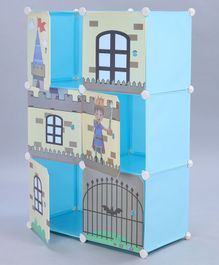 6 Compartments Storage Unit Doll House Print - Blue