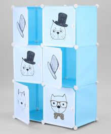 6 Compartments Storage Unit Kitty Print - Blue