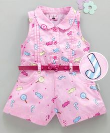 U R Cute Sleeveless Candy Print Jumpsuit With Belt - Pink