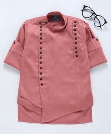 Dapper Dudes Solid Full Sleeves Kurta - Peach