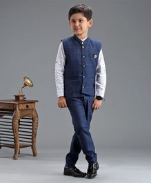 Dapper Dudes Full Sleeves Shirt With Checked Waistcoat & Pants Set - Blue