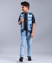 Dapper Dudes Printed Full Sleeves Shirt With Denim Jacket & Jeans Set - Blue