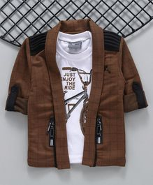 Dapper Dudes Full Sleeves Checked Blazer With Cycle Print Tee - Brown