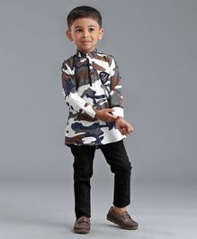 Dapper Dudes Camouflage Print Full Sleeves Shirt & Bottom Set - Brown