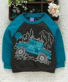 Babyhug Full Sleeves Sweatshirt Graphic Print - Dark Cyan Green