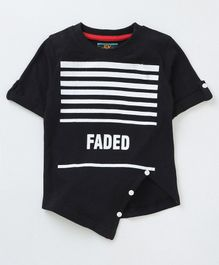 Forever Kids Striped Half Sleeves T-Shirt - Black