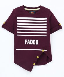 Forever Kids Striped Half Sleeves T-Shirt - Purple