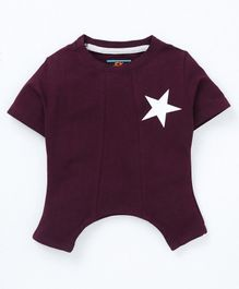 Forever Kids Star Print Half Sleeves T-Shirt - Purple