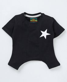 Forever Kids Star Print Half Sleeves T-Shirt - Black