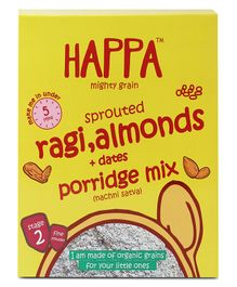 Happa Mighty Grain Sprouted Ragi Almonds & Dates Porridge Mix - 200 gm