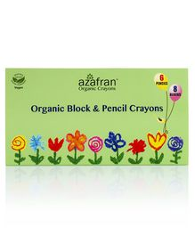Azafran Organic Block & Pencil Crayons 6 Shades & 8 Blocks- Multicolour
