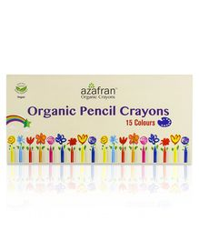 Azafran Organic Pencil Crayons 15 Shades- Multicolour