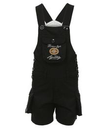 FirstClap Embroidered Sleeveless Dungaree - Black