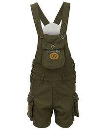 FirstClap Embroidered Sleeveless Dungaree - Green