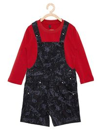 FirstClap Full Sleeves Tee & Printed Dungaree Set - Red