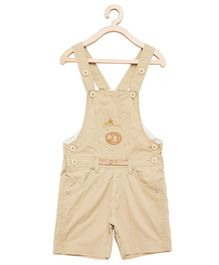Firstclap Bird Patch Sleeveless Dungaree - Brown