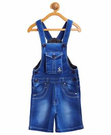 FirstClap Solid Sleeveless Short Dungaree - Light Blue