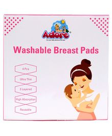 Adore Ultra Thin 3 Layer Washable Breast Pads - 4 Pieces