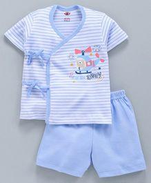db4fd1b4e Zero Half Sleeves Striped Tee   Shorts Set Aeroplane Print - Blue