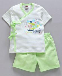 6af689bf2 Zero Half Sleeves Striped Tee & Shorts Set Aeroplane Print - Green