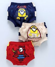 Red Rose Briefs Minion Print Pack of 3 - Blue Red Beige