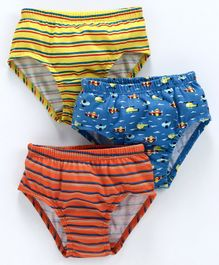 Red Rose Striped Briefs Helicopter Print Pack of 3 - Blue Red Yellow