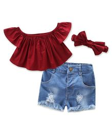 Awabox Half Sleeves Solid Off Shoulder Top With Rugged Shorts & Headband - Maroon & Blue