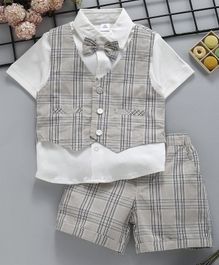 efc3d6b818b ToffyHouse Half Sleeves Party Wear Tee   Checked Shorts With Waist Coat -  Grey White