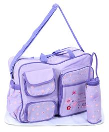 Diaper Bag With Changing Mat And Bottle Cover Bear Embroidery - Lavender