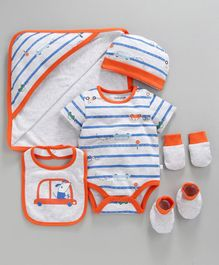 Babyoye Cotton Striped Clothing Gift Set Car Print Blue Light Grey - Pack of 6