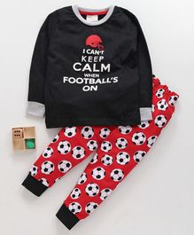 Lazy Bones Full Sleeves Night Suit Football Print - Red