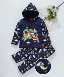 Cucumber Full Sleeves Hooded Night Suit - Navy Blue