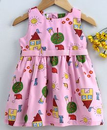 Cucumber Sleeveless Frock House Print - Pink
