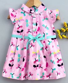 Cucumber Short Sleeves Frock Butterfly Print - Pink