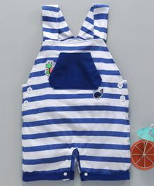 marshmallow Sleeveless Striped Dungaree Style Romper - Blue