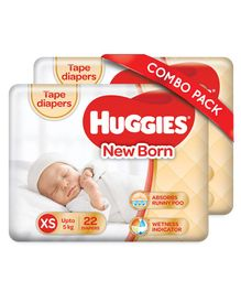 Huggies Taped Diapers For New Born Pack Of 2 - 44 Pieces
