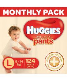 Huggies Ultra Soft Pants Diaper Monthly Pack Large Size - 124 Pieces