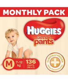 Huggies Ultra Soft Pants Diaper Monthly Pack Medium Size - 136 Pieces