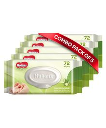 Huggies Nourishing Clean Baby Wipes with Cucmber & Aloe Vera Pack of 5 - 360 Pieces