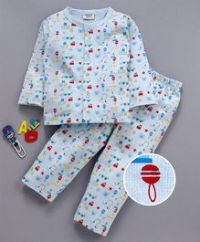 Wonderchild Car Print Full Sleeves Night Suit - Light Blue