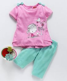 Babyhug Half Sleeves Top and Lounge Pant Set Graphic Print - Pink Mint Green