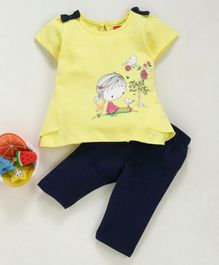 Babyhug Half Sleeves Top and Lounge Pant Set Graphic Print - Yellow & Navy Blue