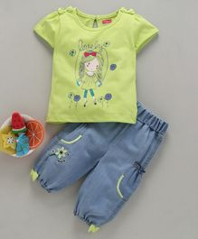 Babyhug Half Sleeves Printed T-Shirt & Flower Embroidered Jeans Bow Applique - Green